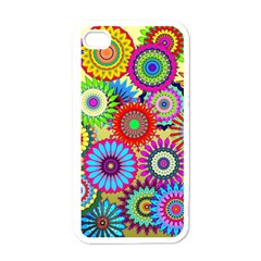 Psychedelic Flowers Apple Iphone 4 Case (white)