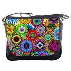 Psychedelic Flowers Messenger Bag