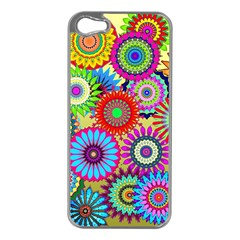 Psychedelic Flowers Apple iPhone 5 Case (Silver)
