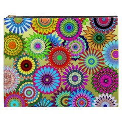 Psychedelic Flowers Cosmetic Bag (XXXL)
