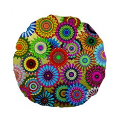 Psychedelic Flowers 15  Premium Round Cushion