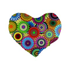 Psychedelic Flowers 16  Premium Heart Shape Cushion