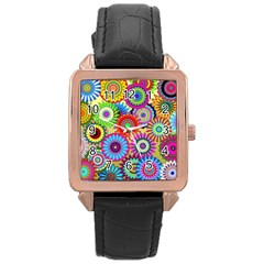 Psychedelic Flowers Rose Gold Leather Watch