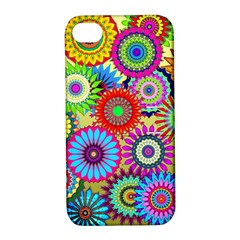 Psychedelic Flowers Apple Iphone 4/4s Hardshell Case With Stand