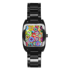 Psychedelic Flowers Stainless Steel Barrel Watch
