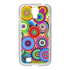 Psychedelic Flowers Samsung GALAXY S4 I9500/ I9505 Case (White)