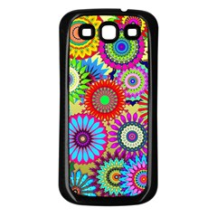 Psychedelic Flowers Samsung Galaxy S3 Back Case (Black)