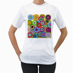 Psychedelic Flowers Women s T-Shirt (White)