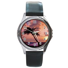 Sunset At The Beach Round Leather Watch (Silver Rim)