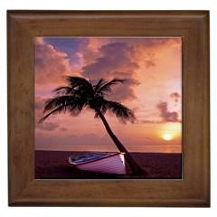 Sunset At The Beach Framed Ceramic Tile