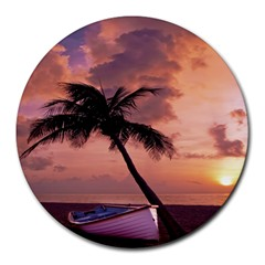 Sunset At The Beach 8  Mouse Pad (round)