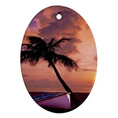 Sunset At The Beach Oval Ornament