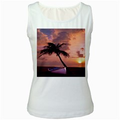 Sunset At The Beach Women s Tank Top (White)