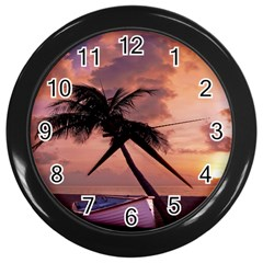 Sunset At The Beach Wall Clock (Black)