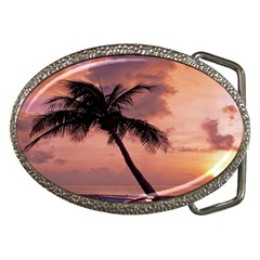 Sunset At The Beach Belt Buckle (Oval)
