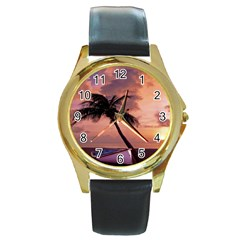 Sunset At The Beach Round Leather Watch (Gold Rim)