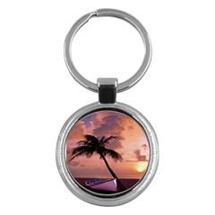 Sunset At The Beach Key Chain (Round)