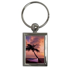 Sunset At The Beach Key Chain (rectangle)
