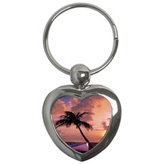 Sunset At The Beach Key Chain (heart)