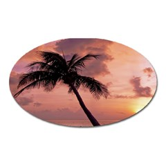 Sunset At The Beach Magnet (oval)