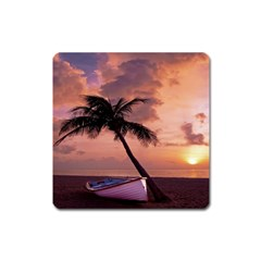 Sunset At The Beach Magnet (Square)