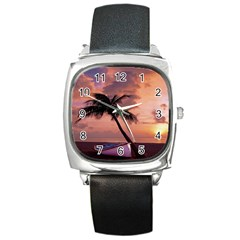 Sunset At The Beach Square Leather Watch