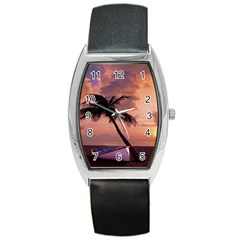 Sunset At The Beach Tonneau Leather Watch