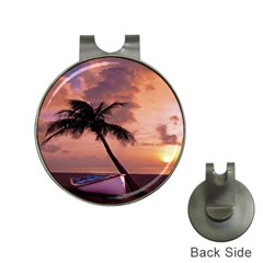 Sunset At The Beach Hat Clip with Golf Ball Marker