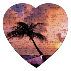 Sunset At The Beach Jigsaw Puzzle (Heart)