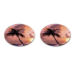 Sunset At The Beach Cufflinks (Oval)