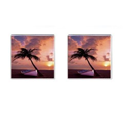Sunset At The Beach Cufflinks (Square)