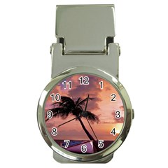 Sunset At The Beach Money Clip with Watch
