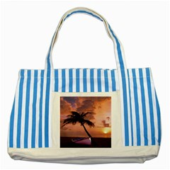 Sunset At The Beach Blue Striped Tote Bag