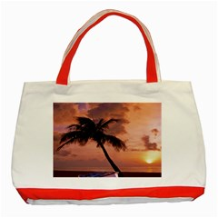 Sunset At The Beach Classic Tote Bag (Red)
