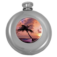 Sunset At The Beach Hip Flask (Round)