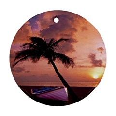 Sunset At The Beach Round Ornament (Two Sides)