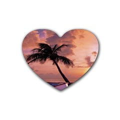 Sunset At The Beach Drink Coasters 4 Pack (Heart)