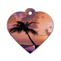 Sunset At The Beach Dog Tag Heart (One Sided)