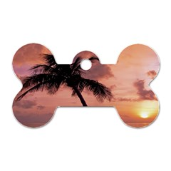 Sunset At The Beach Dog Tag Bone (Two Sided)