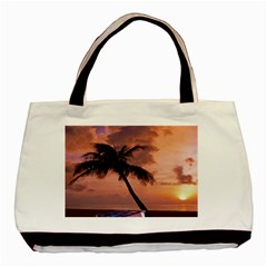Sunset At The Beach Twin Sided Black Tote Bag