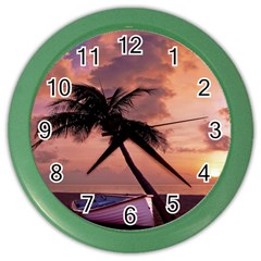 Sunset At The Beach Wall Clock (Color)