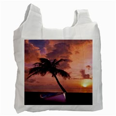 Sunset At The Beach White Reusable Bag (two Sides)