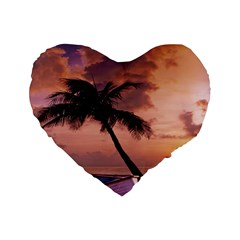 Sunset At The Beach 16  Premium Heart Shape Cushion