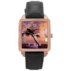 Sunset At The Beach Rose Gold Leather Watch
