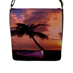 Sunset At The Beach Flap Closure Messenger Bag (Large)