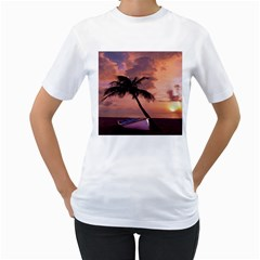 Sunset At The Beach Women s T Shirt (white)