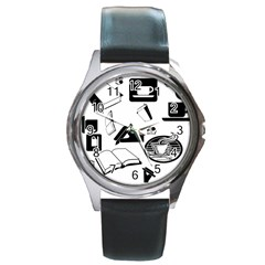 Books And Coffee Round Leather Watch (Silver Rim)
