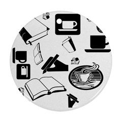 Books And Coffee Round Ornament