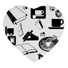 Books And Coffee Heart Ornament