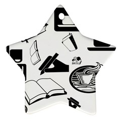 Books And Coffee Star Ornament